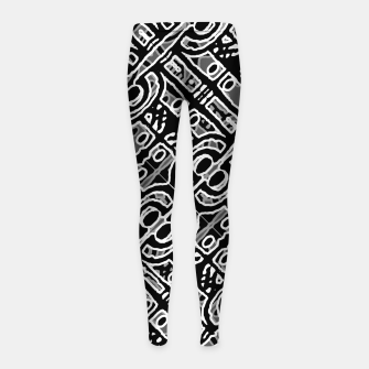 Miniaturka Linear Black and White Ethnic Print Girl's leggings, Live Heroes