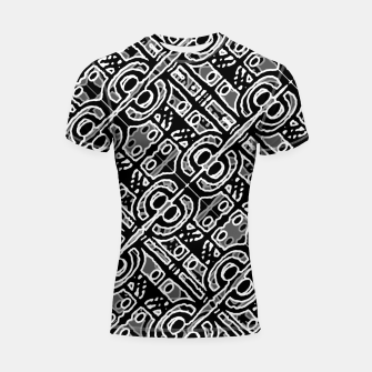 Miniaturka Linear Black and White Ethnic Print Shortsleeve rashguard, Live Heroes