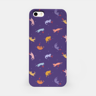 Miniatur Paper Cut Candy Cats in Violet iPhone Case, Live Heroes