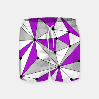 Miniatur Abstract geometric pattern - gray and purple. Swim Shorts, Live Heroes