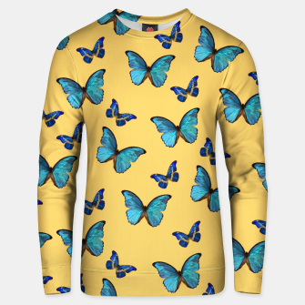 Blue Yellow Butterfly Glam #1 #pattern #decor #art  Unisex sweatshirt obraz miniatury