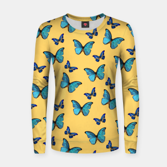 Blue Yellow Butterfly Glam #1 #pattern #decor #art  Frauen sweatshirt obraz miniatury