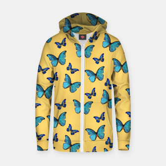Blue Yellow Butterfly Glam #1 #pattern #decor #art  Reißverschluss kapuzenpullover obraz miniatury