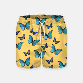 Blue Yellow Butterfly Glam #1 #pattern #decor #art  Badeshorts obraz miniatury