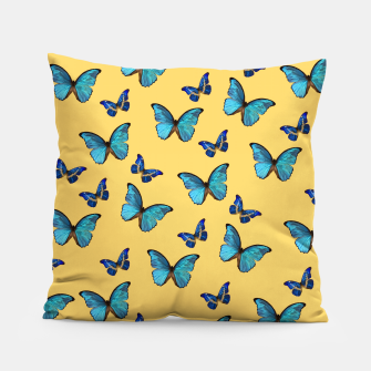 Blue Yellow Butterfly Glam #1 #pattern #decor #art  Kissen obraz miniatury