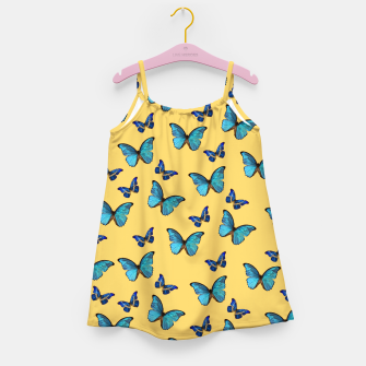 Blue Yellow Butterfly Glam #1 #pattern #decor #art  Mädchenkleid obraz miniatury