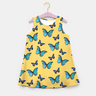 Blue Yellow Butterfly Glam #1 #pattern #decor #art  Mädchen-Sommerkleid obraz miniatury