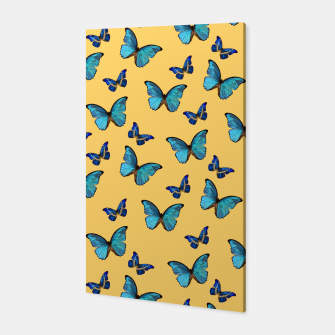 Blue Yellow Butterfly Glam #1 #pattern #decor #art  Canvas obraz miniatury