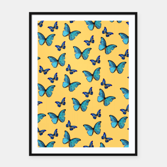 Blue Yellow Butterfly Glam #1 #pattern #decor #art  Plakat mit rahmen obraz miniatury