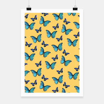 Blue Yellow Butterfly Glam #1 #pattern #decor #art  Plakat obraz miniatury