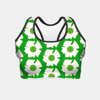 Thumbnail image of White flowers on green Crop Top, Live Heroes