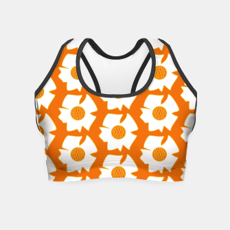 Thumbnail image of White flowers on orange Crop Top, Live Heroes