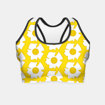 Thumbnail image of White flowers on yellow Crop Top, Live Heroes