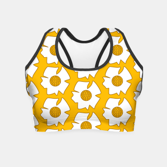 Thumbnail image of White flower on mustard Crop Top, Live Heroes