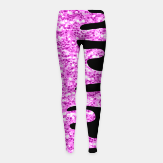 Thumbnail image of Dripping Sparkles Orchid Pink Purple Girl's leggings, Live Heroes