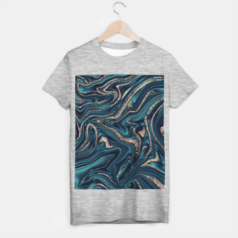 Miniaturka Teal Navy Blue Gold Glitter Marble #1 (Faux Glitter) #decor #art T-Shirt regulär, Live Heroes