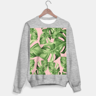 Miniature de image de Monstera Leaves Blush Summer Vibes Pattern #1 #tropical #decor #art  Sweatshirt regulär, Live Heroes