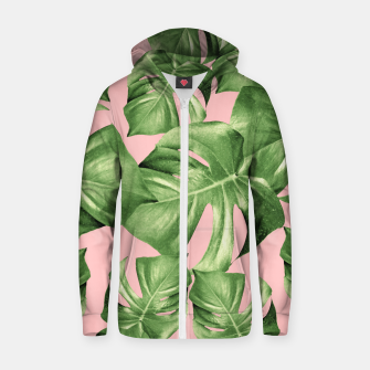 Miniature de image de Monstera Leaves Blush Summer Vibes Pattern #1 #tropical #decor #art  Reißverschluss kapuzenpullover, Live Heroes