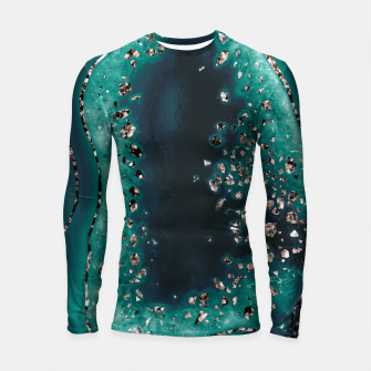 Thumbnail image of Agate Rose Gold Glitter Glam Night #3 #gem #decor #art  Longsleeve rashguard, Live Heroes