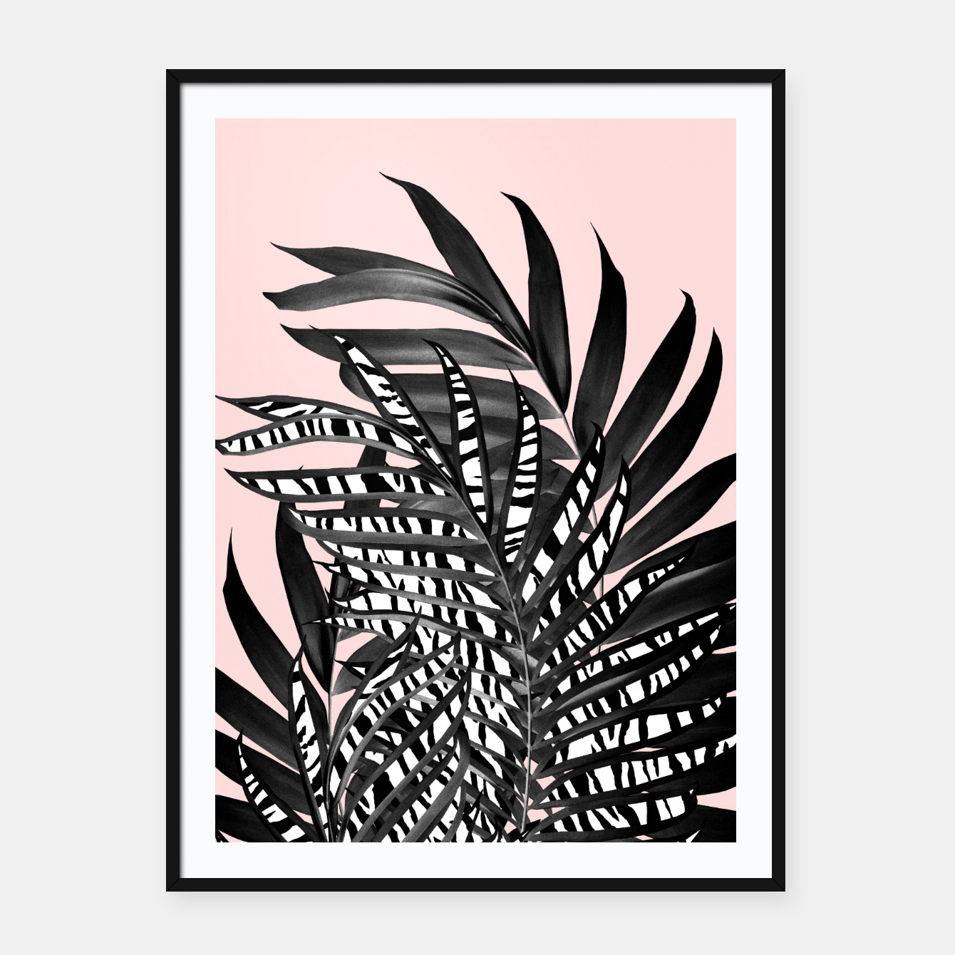 Image of Palm Leaves with Tiger Stripe Glam #2 #tropical #decor #art  Plakat mit rahmen - Live Heroes