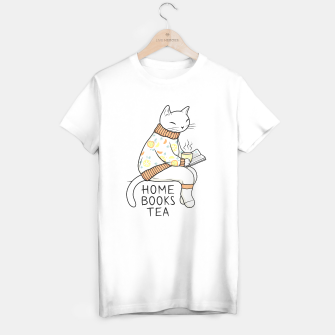 Miniature de image de White Cat having a great time at home T-shirt regular, Live Heroes