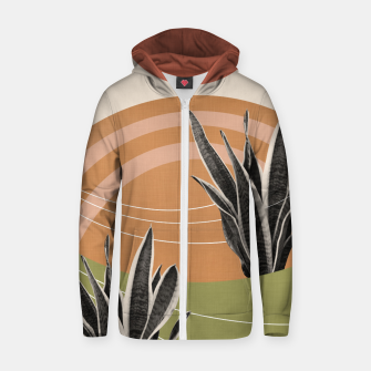 Thumbnail image of Snake Plant in the Desert #1 #tropical #wall #art  Reißverschluss kapuzenpullover, Live Heroes