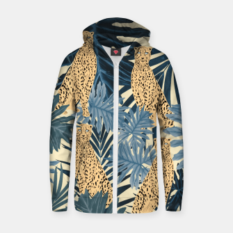 Thumbnail image of Summer Cheetah Jungle Vibes #1 #tropical #decor #art  Reißverschluss kapuzenpullover, Live Heroes