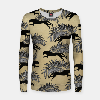 Thumbnail image of Black Panther Palm Glitter Glam #1 #tropical #decor #art  Frauen sweatshirt, Live Heroes