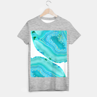 Thumbnail image of Soft Aqua Marine Gold Agate Glam #1 #gem #decor #art  T-Shirt regulär, Live Heroes