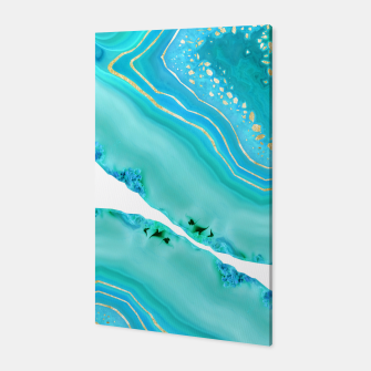 Thumbnail image of Soft Aqua Marine Gold Agate Glam #1 #gem #decor #art  Canvas, Live Heroes