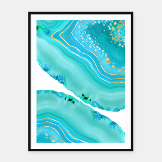 Thumbnail image of Soft Aqua Marine Gold Agate Glam #1 #gem #decor #art  Plakat mit rahmen, Live Heroes