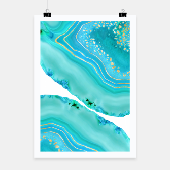 Thumbnail image of Soft Aqua Marine Gold Agate Glam #1 #gem #decor #art  Plakat, Live Heroes