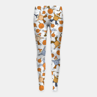 Thumbnail image of Tumbling Scarecrows Girl's leggings, Live Heroes