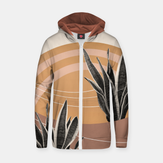 Thumbnail image of Snake Plant in the Desert #2 #tropical #wall #art  Reißverschluss kapuzenpullover, Live Heroes