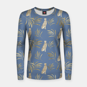 Thumbnail image of Cheetah Eucalyptus Glam Pattern #4 #tropical #decor #art Frauen sweatshirt, Live Heroes