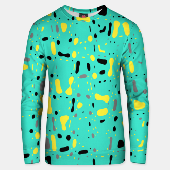 Miniatur Turquoise blue, yellow and black spots, abstract galaxy texture print, color moving fragments  Unisex sweater, Live Heroes