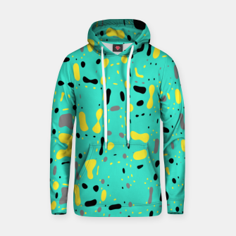 Miniatur Turquoise blue, yellow and black spots, abstract galaxy texture print, color moving fragments  Hoodie, Live Heroes