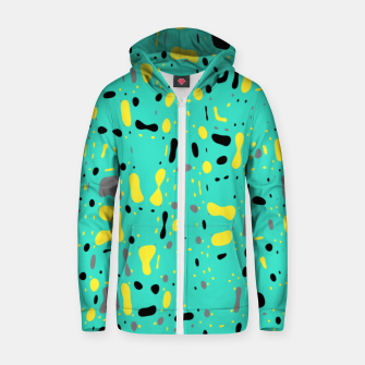 Miniatur Turquoise blue, yellow and black spots, abstract galaxy texture print, color moving fragments  Zip up hoodie, Live Heroes
