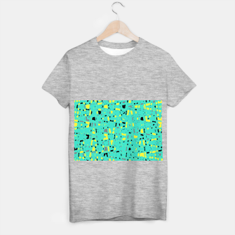 Miniatur Turquoise blue, yellow and black spots, abstract galaxy texture print, color moving fragments  T-shirt regular, Live Heroes