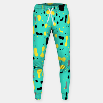 Miniatur Turquoise blue, yellow and black spots, abstract galaxy texture print, color moving fragments  Sweatpants, Live Heroes