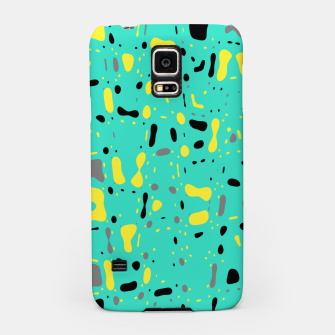 Miniatur Turquoise blue, yellow and black spots, abstract galaxy texture print, color moving fragments  Samsung Case, Live Heroes