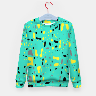 Miniatur Turquoise blue, yellow and black spots, abstract galaxy texture print, color moving fragments  Kid's sweater, Live Heroes