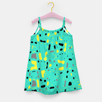 Miniatur Turquoise blue, yellow and black spots, abstract galaxy texture print, color moving fragments  Girl's dress, Live Heroes