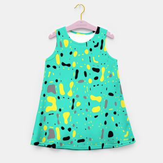 Miniatur Turquoise blue, yellow and black spots, abstract galaxy texture print, color moving fragments  Girl's summer dress, Live Heroes
