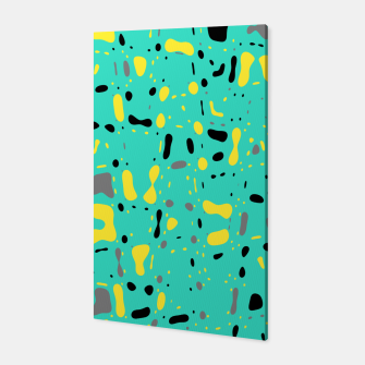 Miniatur Turquoise blue, yellow and black spots, abstract galaxy texture print, color moving fragments  Canvas, Live Heroes