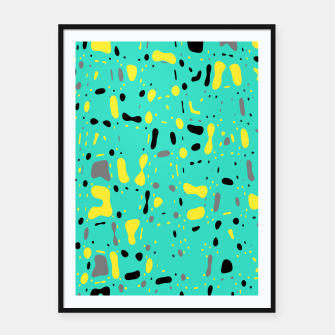 Miniatur Turquoise blue, yellow and black spots, abstract galaxy texture print, color moving fragments  Framed poster, Live Heroes