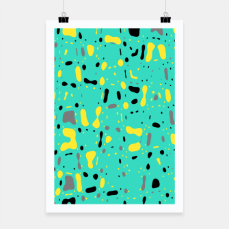 Miniatur Turquoise blue, yellow and black spots, abstract galaxy texture print, color moving fragments  Poster, Live Heroes