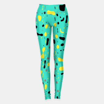 Miniatur Turquoise blue, yellow and black spots, abstract galaxy texture print, color moving fragments  Leggings, Live Heroes