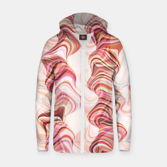 Miniatur Abstract smoke tunnels, pink curvy shapes, texture design, crazy smoky print Zip up hoodie, Live Heroes
