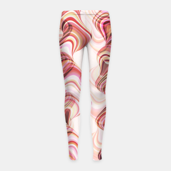 Miniatur Abstract smoke tunnels, pink curvy shapes, texture design, crazy smoky print Girl's leggings, Live Heroes
